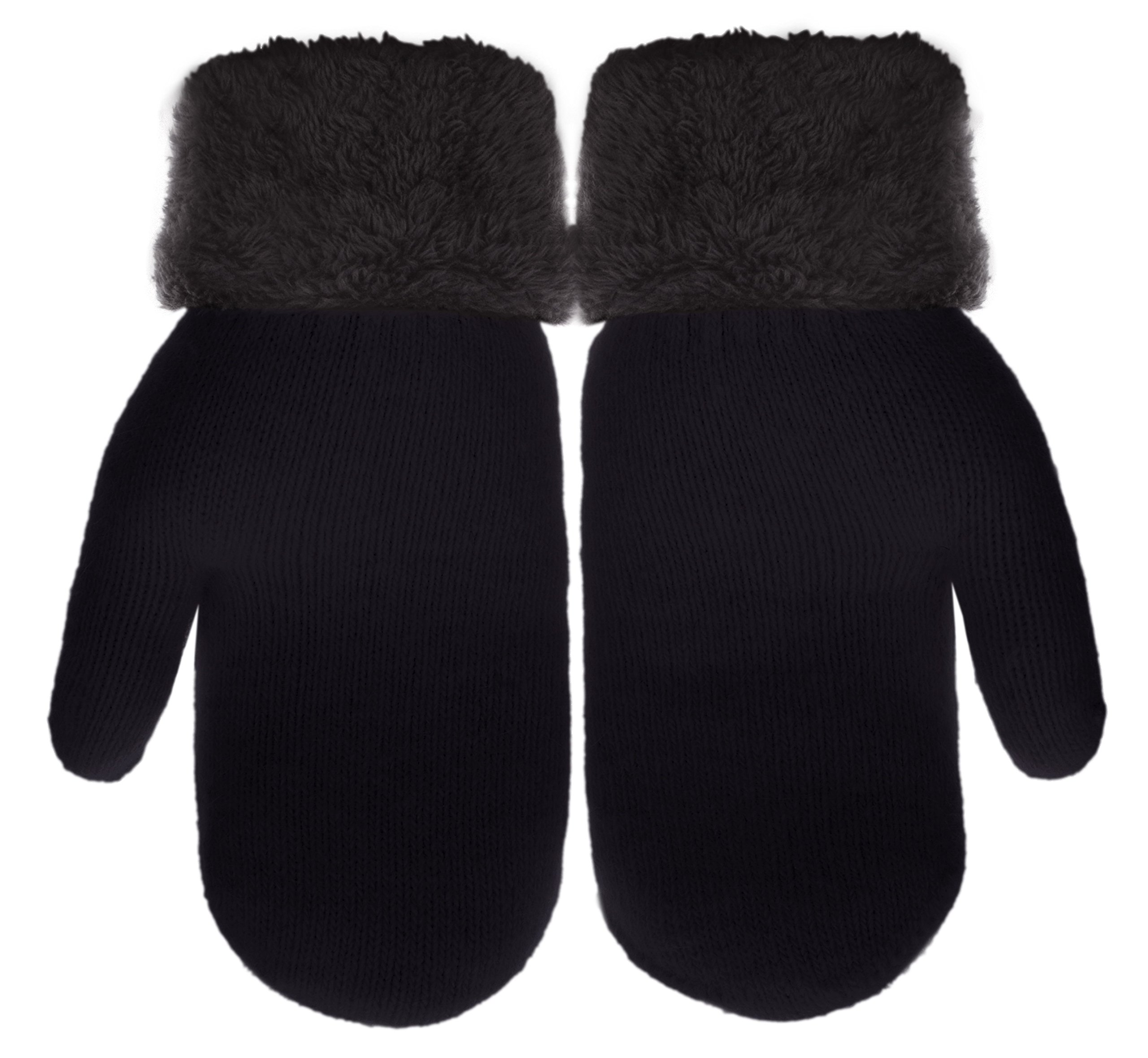 IL Caldo Womens Winter Gloves Plush Edge Warm Thick Knitted Mitten Drive Work Glove,Black