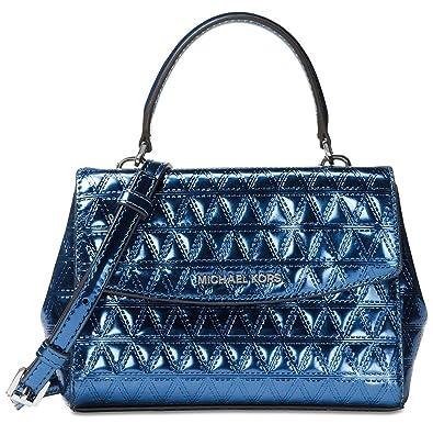 2fac47694c8c ... new zealand michael michael kors ava mini specchio leather crossbody  bag steel blue 595ac a7072