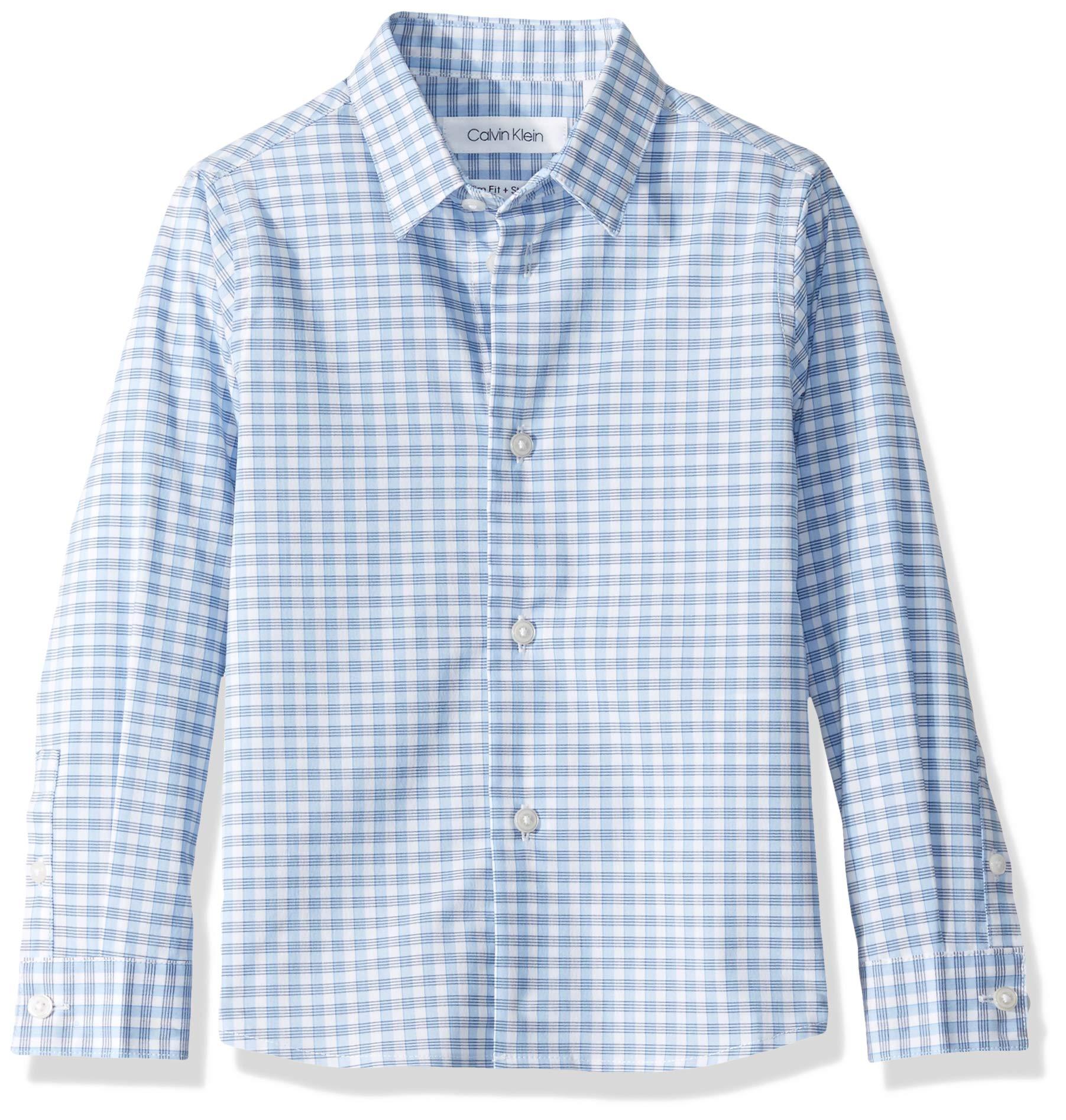 Calvin Klein Big Boys'  Long Sleeve Plaid Button-Down Dress Shirt, Ocean View, 7