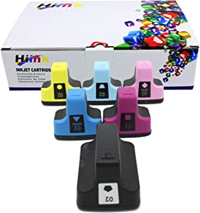 HIINK Remanufactured Ink Cartridge Replacement for HP 02 Ink Cartridges(Black, Cyan, Magenta, Yellow, Lt.Cyan, Lt.Magenta. 6-Pack)