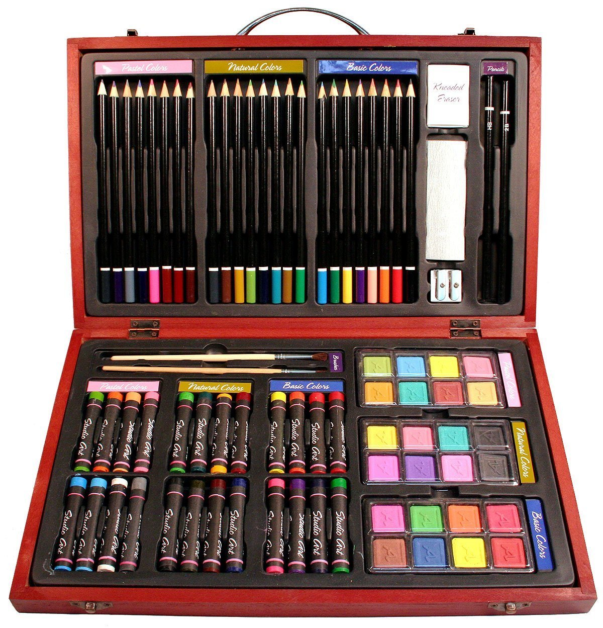 Kids Craft Supplies Wholesale Part - 45: Amazon.com: Nicole Studio Art U0026 Craft Supplies Set In Wood Box For Drawing  And Painting, 79 Piece, Multi Colors