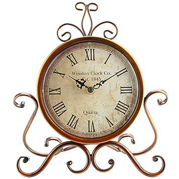 SOLEDI Reloj de Hierro de la Vendimia Reloj de Tabla Artística Reloj Antiguo de la Antigüedad