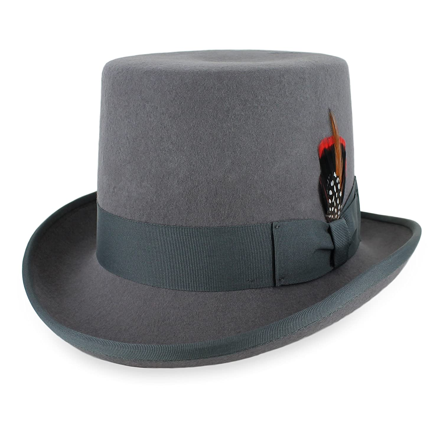 Steampunk Hats for Men | Top Hat, Bowler, Masks Mens Top Hat Satin Lined Topper by Belfry 100% Wool in Black Grey Navy Pearl $39.95 AT vintagedancer.com
