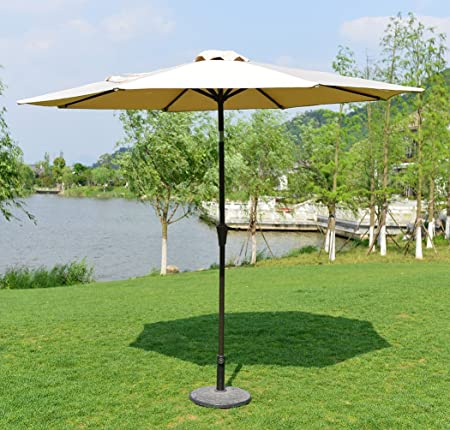 PatioPost 9 Ft Push Button Tilt Patio Umbrella with UV Resistant Protect Cover, 250 gsm Polyester, Beige