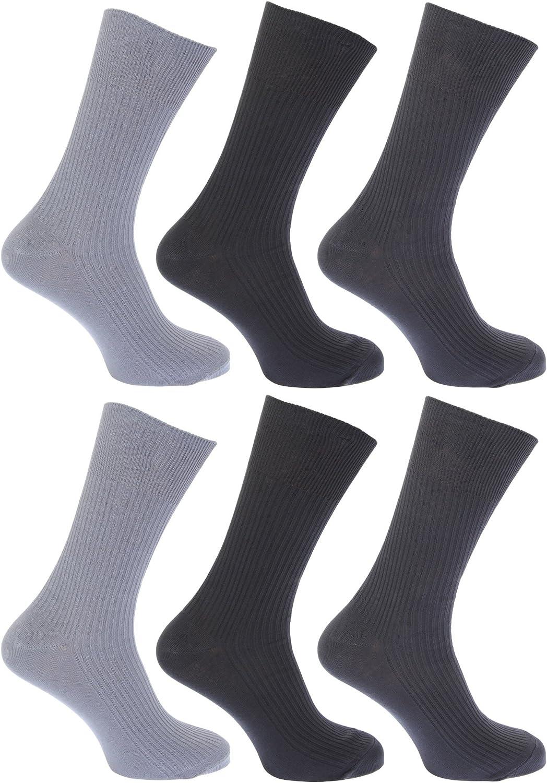 Calcetines lisos acanalados sin goma o el/ástico 100/% algod/ón para hombre//caballero Pack de 6 pares de calcetines FLOSO