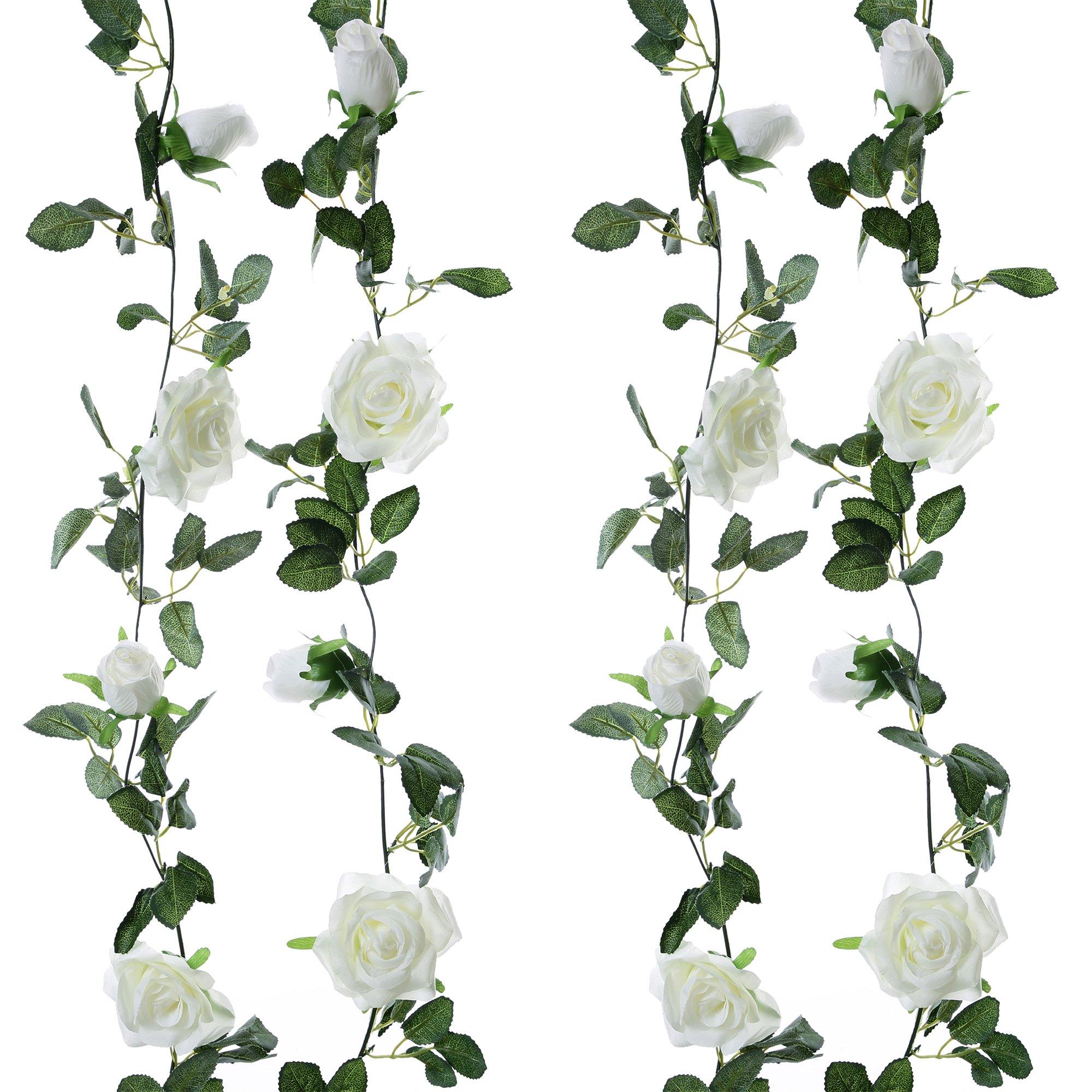 Felice Arts 2pcs 13 FT Fake Rose Vine Flowers Plants Artificial Flower Hanging Rose Ivy Home Hotel Office Wedding Party Garden Craft Art Decor,Cream