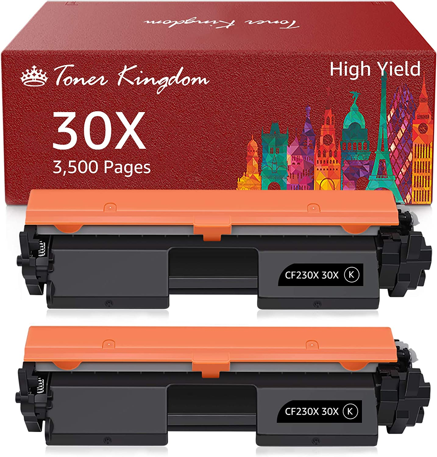 Toner Kingdom Compatible Toner Cartridge Replacement for HP 30X CF230X 30A CF230A for HP Laserjet Pro MFP M203dw M227fdw M227fdn M203d M203dn M227sdn M227 M203 Printer (2 Black)