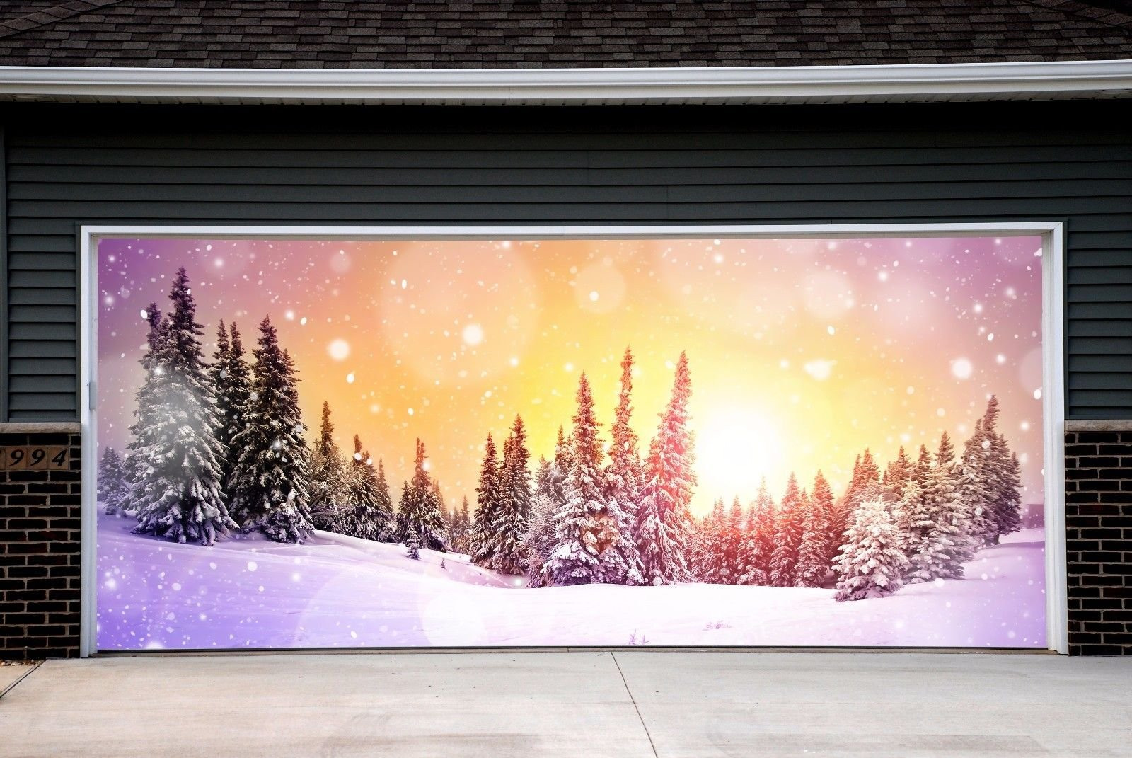 Winter Holiday Christmas Garage Door Covers Banners Outdoor Merry Christmas Decorations Billboard Full Color for 2 Car Garage Door House Art Murals size 82x188 inches DAV49 by WallTattooHome