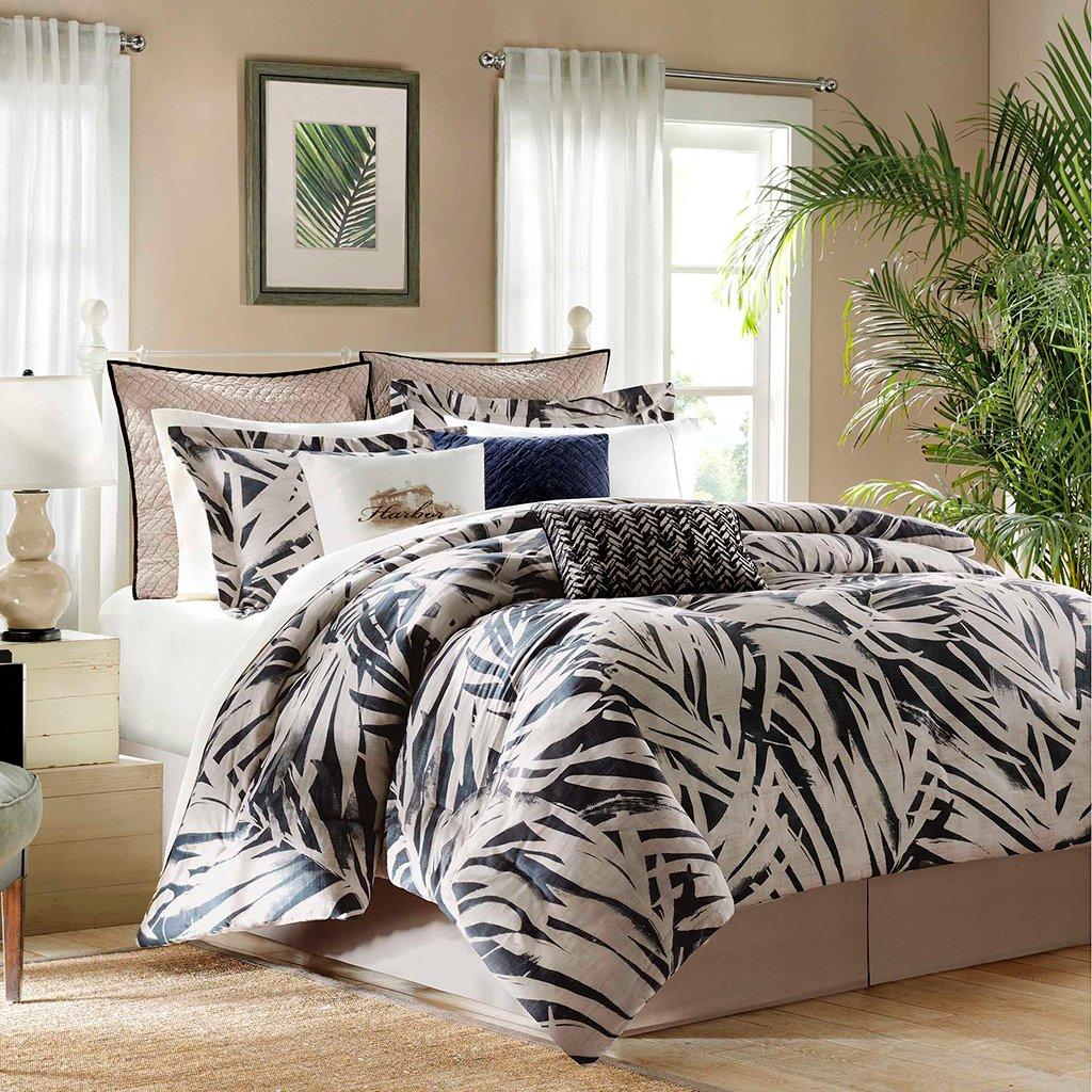 Harbor House Areca 4-Piece Comforter Set, California King, Blue