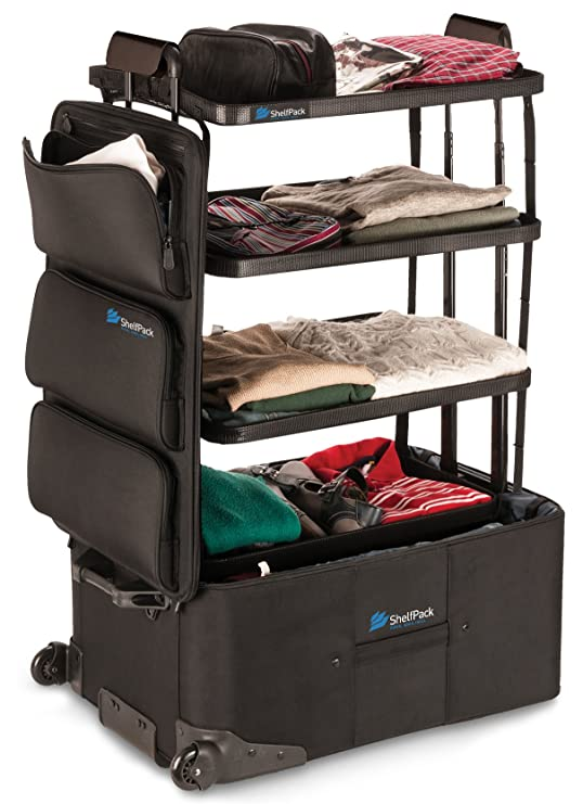 Suitcase with built-in shelves