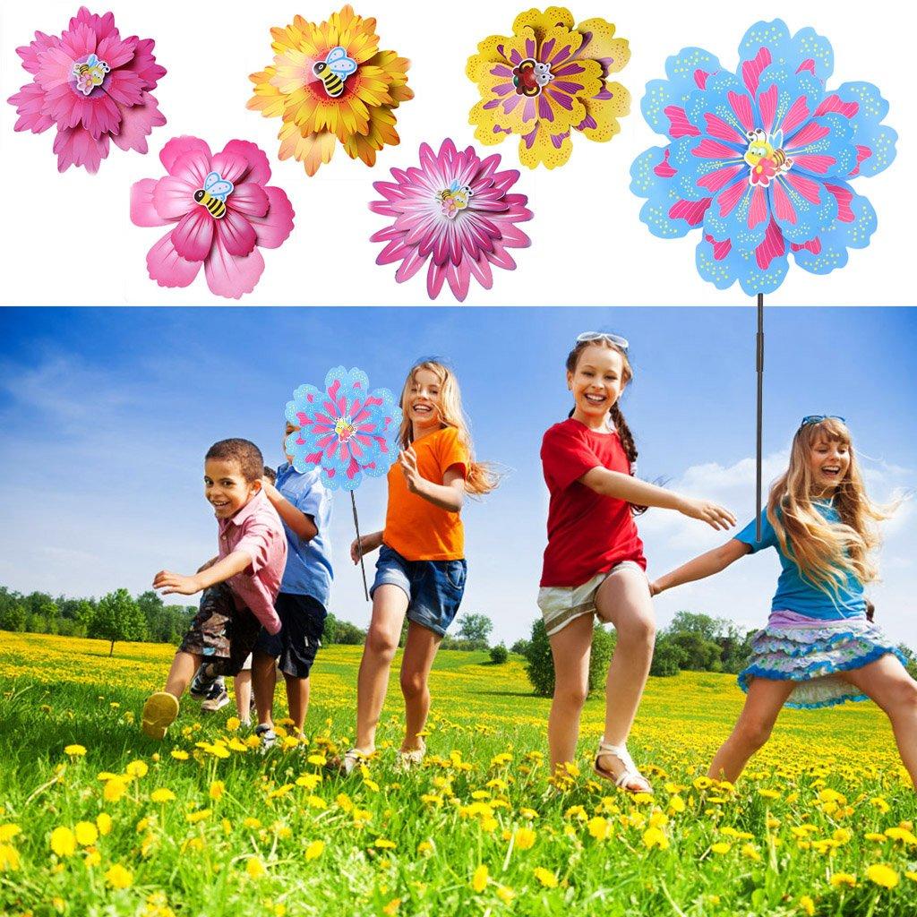 Mentin Plus Grand Double Couche Fleur Moulin /à Vent /éolienne Enfants Jouet Jardin Cour D/écoration