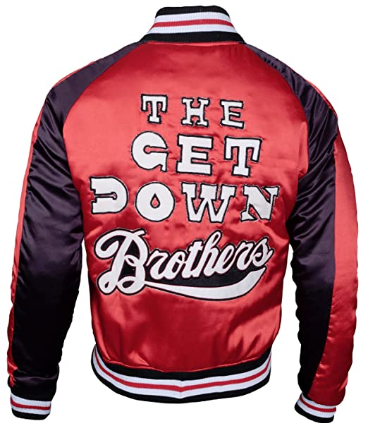 04b2999f03 The Get Down Brothers Varsity Red and Blue Satin Letterman Jacket ...