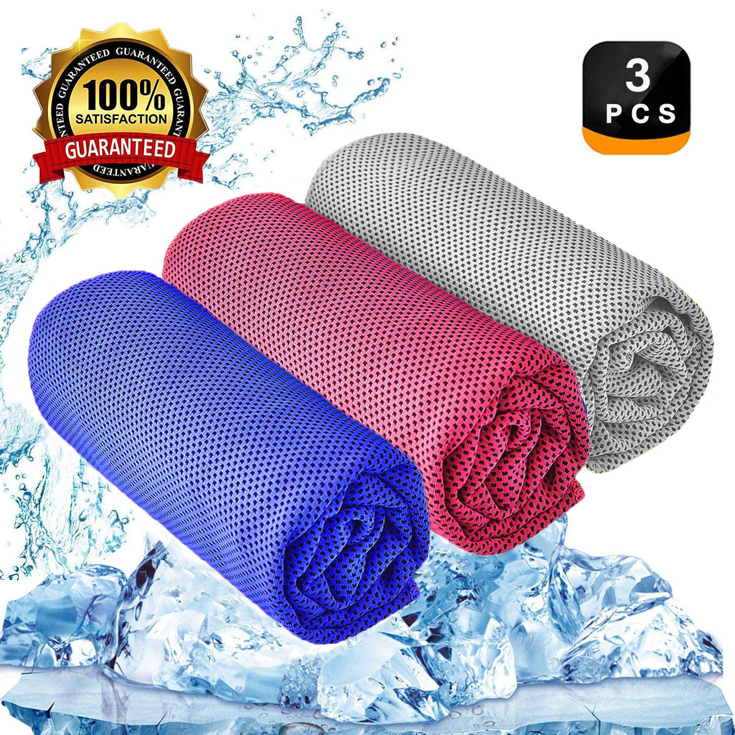 YQXCC Cooling Towel 3 Pcs (47''x12'') Microfiber Towel for Instant Cooling Relief, Cool Cold Towel for Yoga Golf Travel Gym Sports Camping Football & Outdoor Sports (Dark Blue/Rose Red/Light Gray) by YQXCC