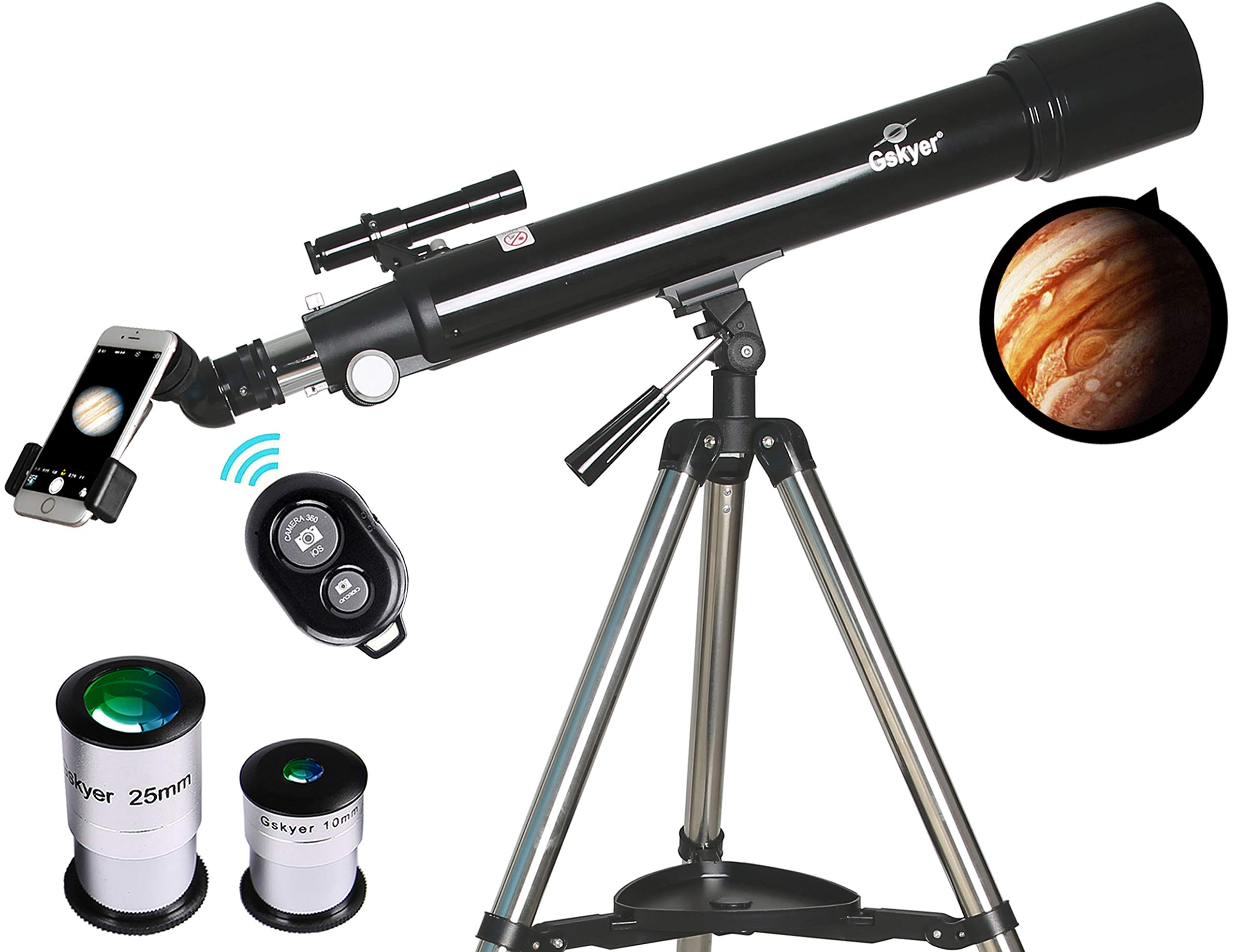 Telescope, Astronomy Refractor Telescopes, 70mm Apeture Scope 700mm AZ Mount for Astronomy Beginners with Tripod & Smartphone Adapter & Wireless Camera Remote