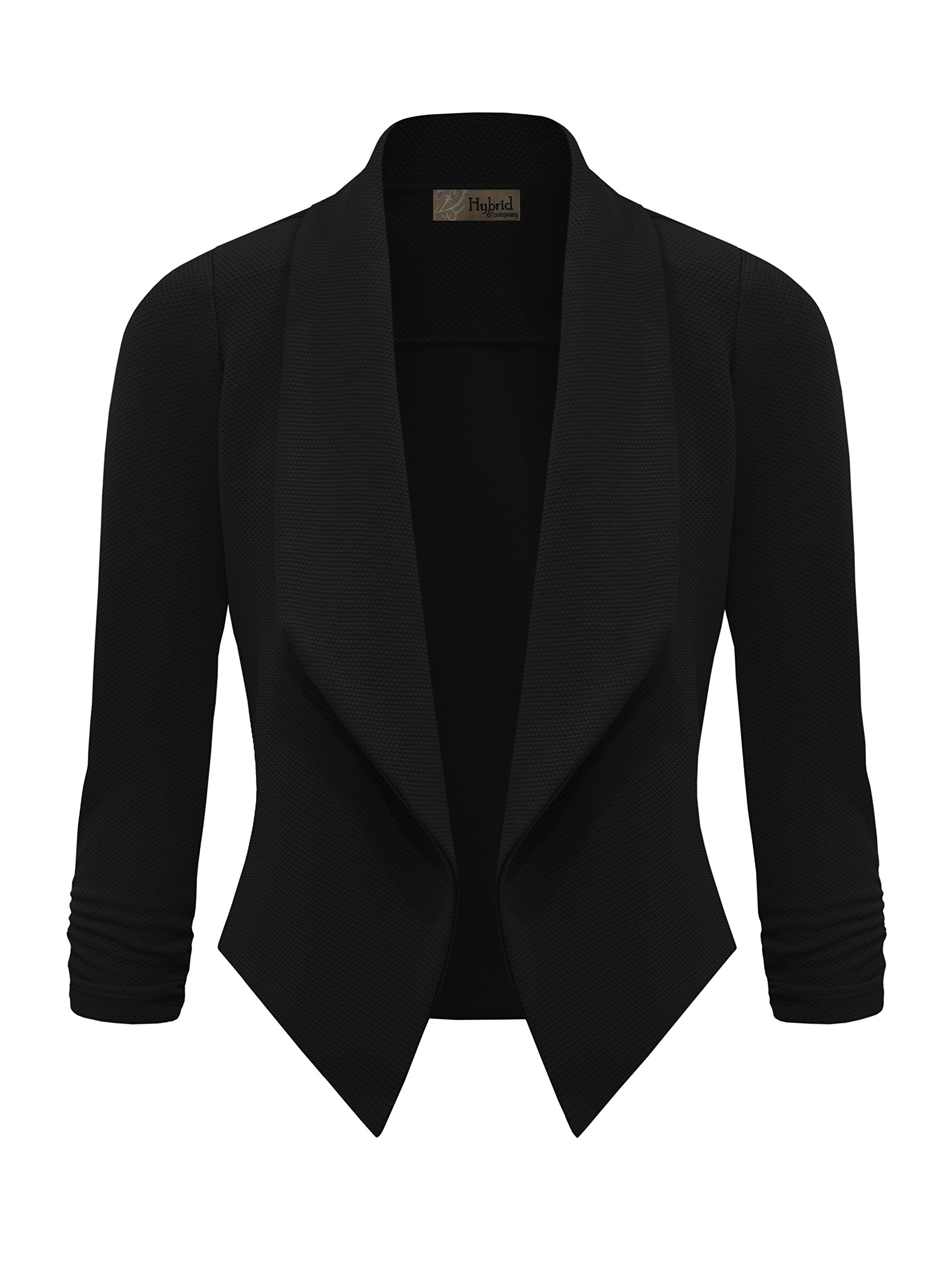 HyBrid & Company Womens Casual Work Office Open Front Blazer JK1133 E3500 Black M by HyBrid & Company (Image #2)