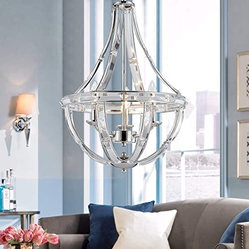 Bestier Polished Nickel Modern Pendant Chandelier Crystal Lighting Ceiling Light Fixture Lamp for Dining Room Bathroom Bedroom Livingroom entryway 3 E12 Bulbs Required D15.7 in x H22.4 in
