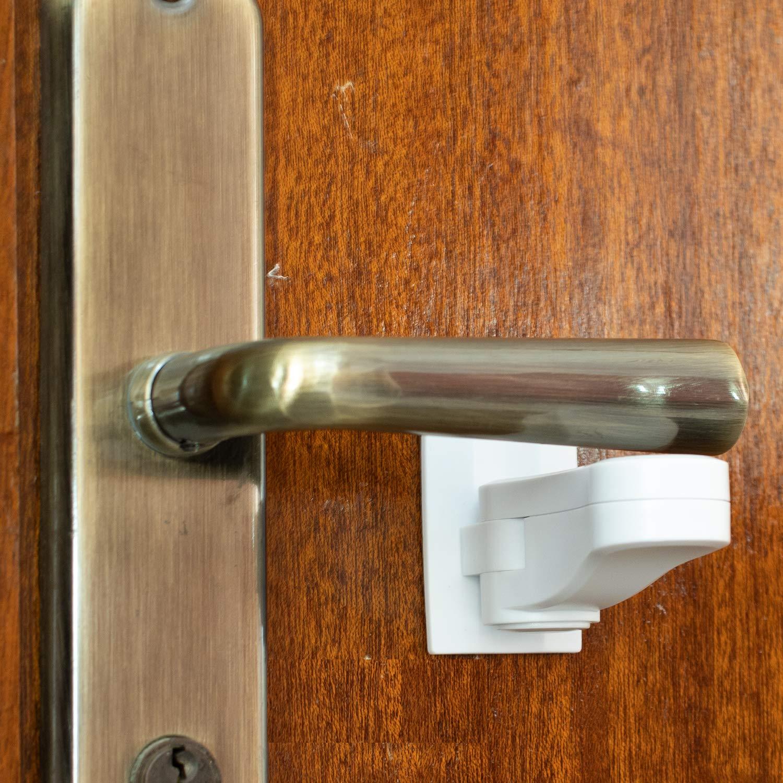 Child Proof Door Lever Lock (2-Pack) - Door Handle Lock - 3M Adhesive - Minimalist Design - No Drilling Child Safety Door Handle Locks by Inaya