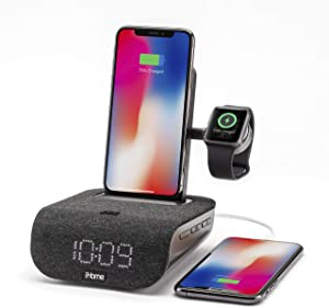 iHome TIMEBASE PRO+ Triple Charging Alarm Clock | Qi-Certified Wireless Charging, Apple Watch Charger, Bluetooth Speaker, USB Charging and Battery Backup (Model iWBTW200B)