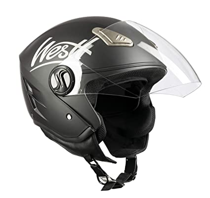 ECE Certified Westt Classic Open Face Jet Helmet for Motorbike//Motorcycle /& Scooter in Vintage Style Matte Black