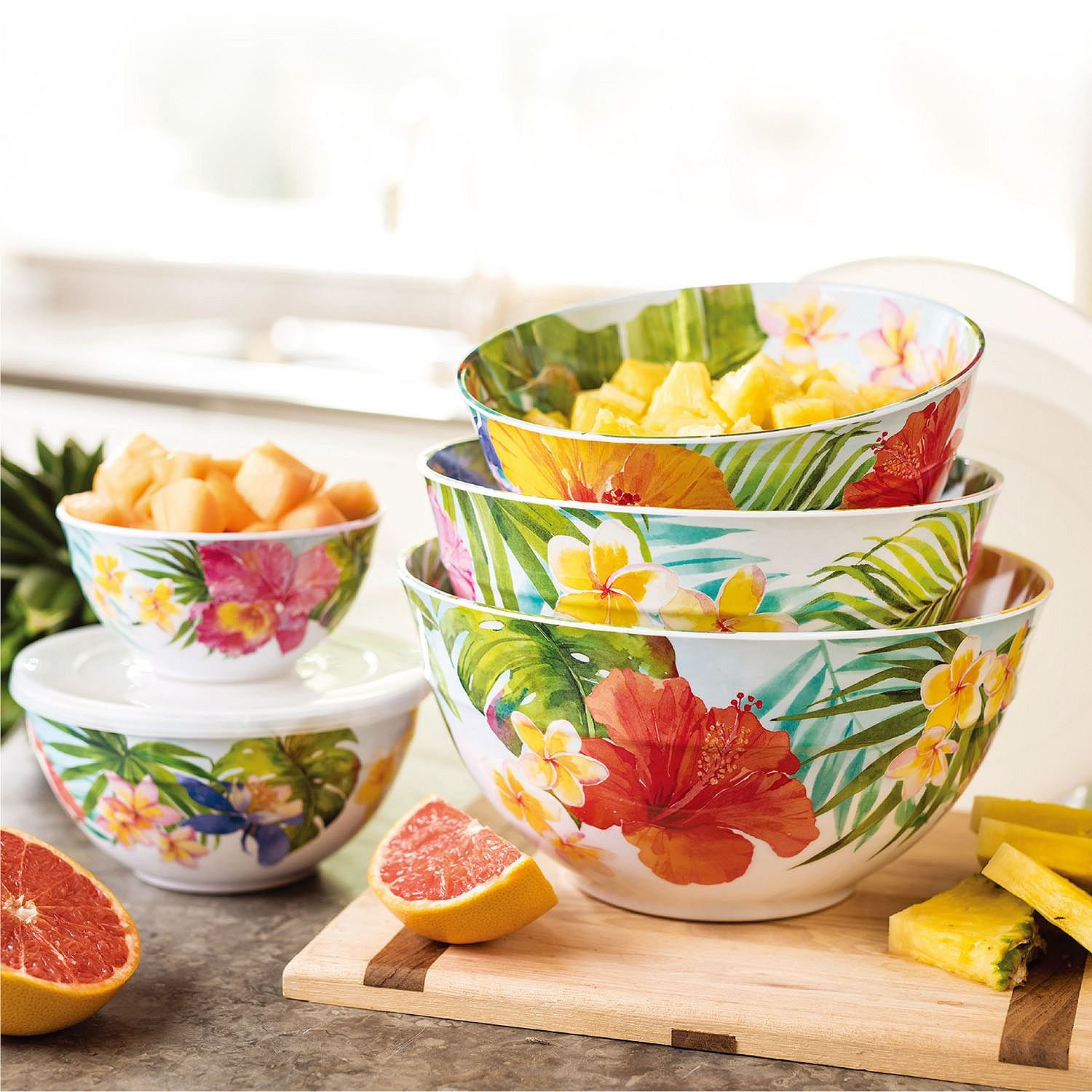 Melamine 10-Piece Mixing Bowl Set - Tropical