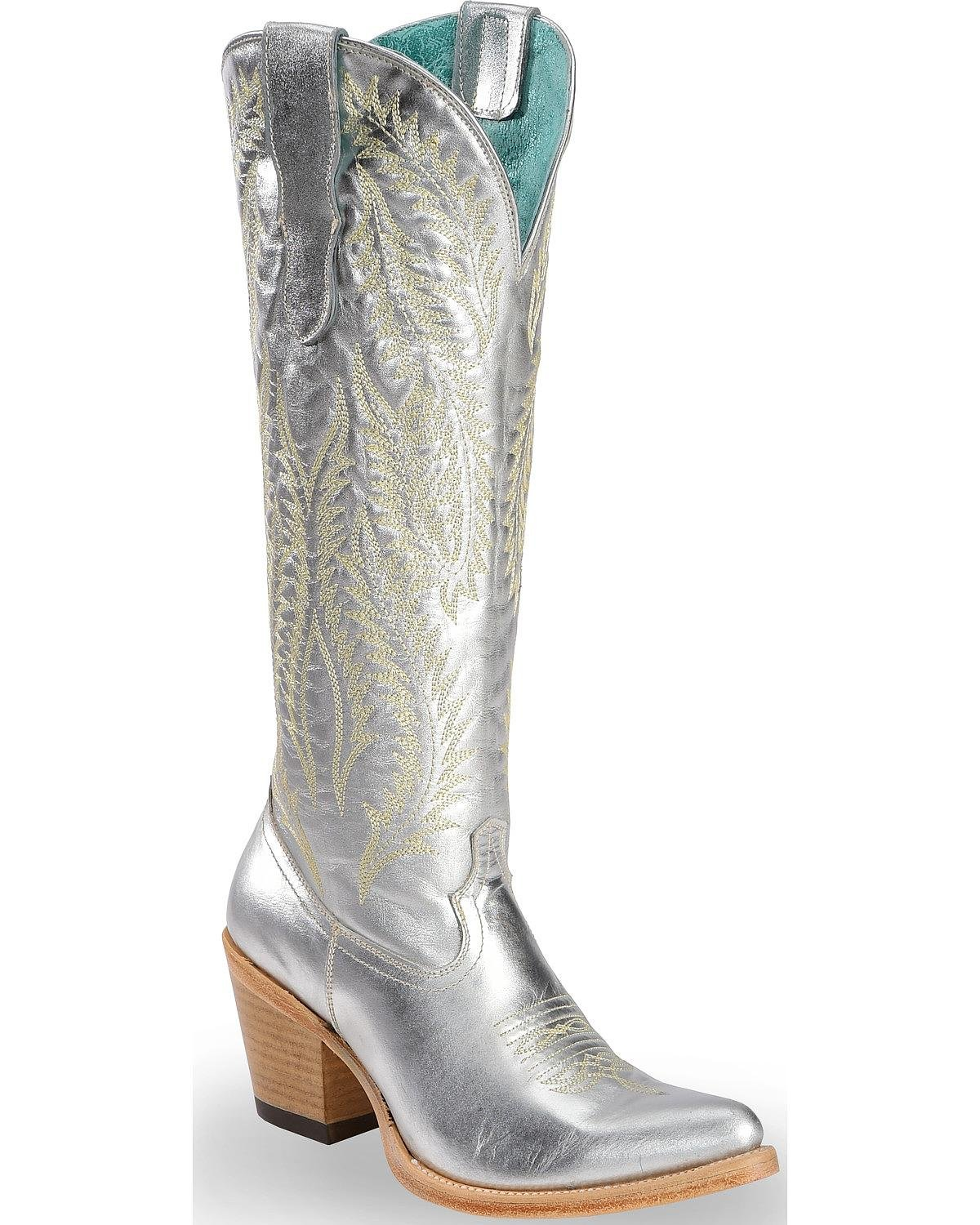 CORRAL Women's Silver Embroidery Tall Top Cowgirl Boot Pointed Toe Silver 7 M