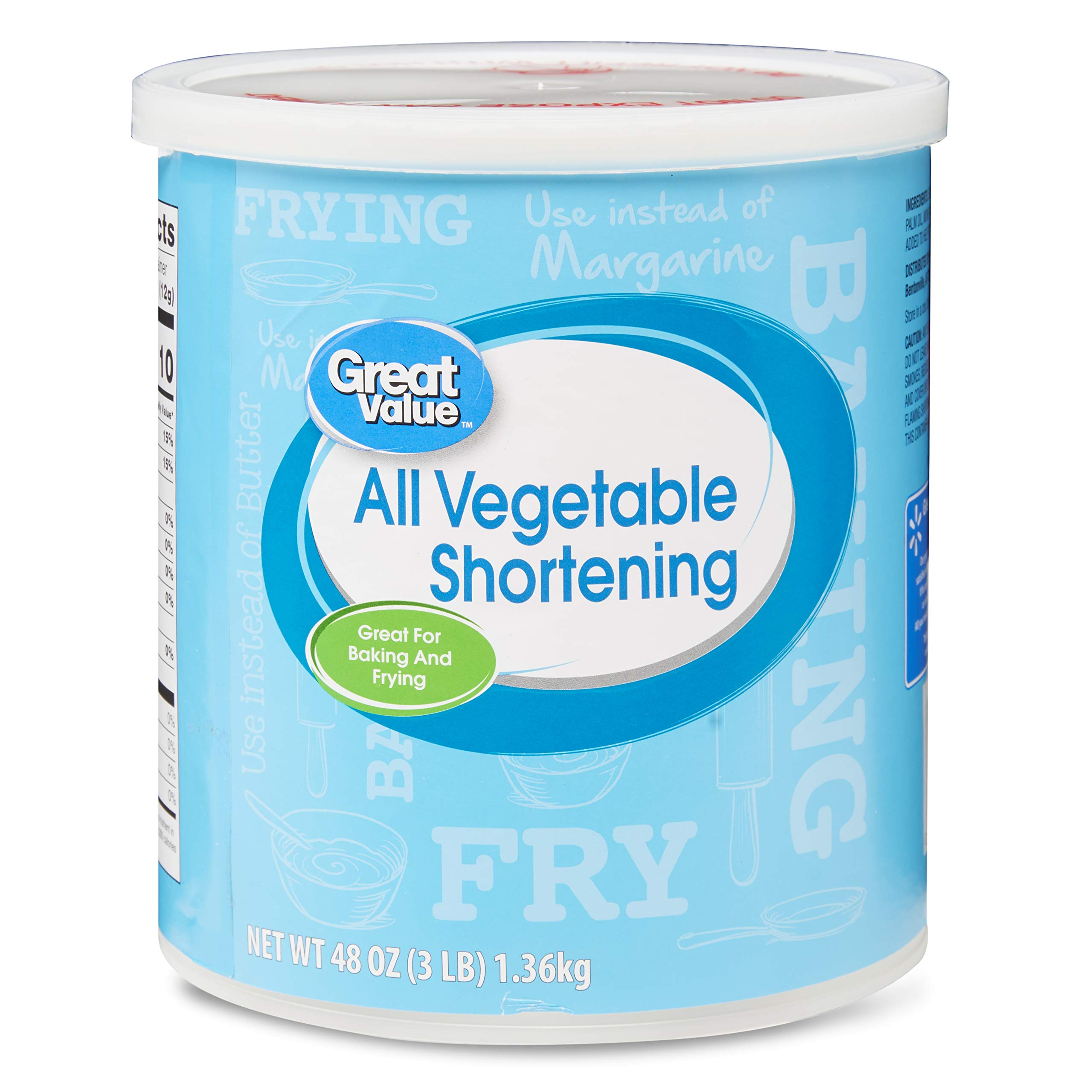 PACK OF 10 - Great Value: All-Vegetable Shortening, 48 Oz by Great Value