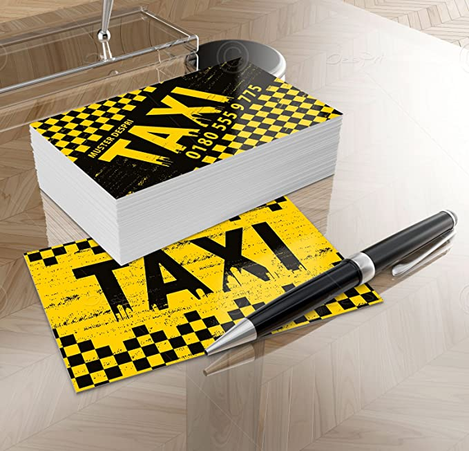 Taxi Visitenkarten Online Gestalten Designed Für Taxifahrer Taxibetriebe Vk013 500 Stück Matt