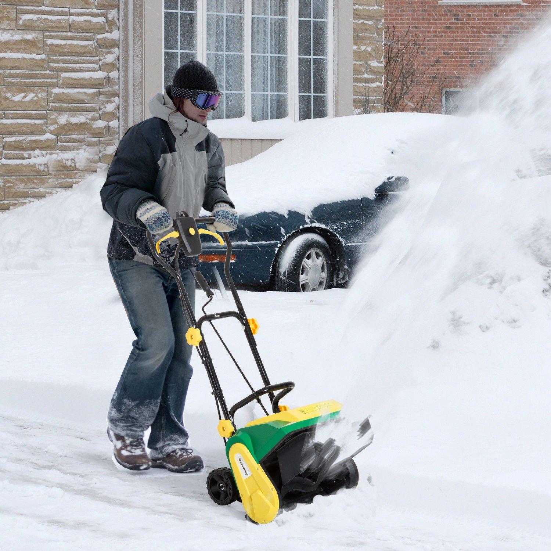 New Power Snow Shovel - Snow Thrower Yard Power Shovel w/ Wheels - Dimension 17 1/4 ''W x 31 1/2 '' D x 37 1/2''H, 120V/60HZ, Green-Yellow
