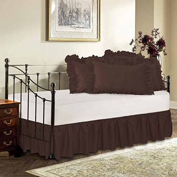 Harmony Lane Day Bed Ruffled Bed Skirt, Brown, 14'' Drop Bedskirt ( Available in 16 Colors)