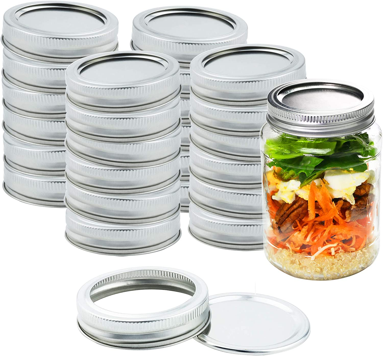 Kinghouse Mason Jar Canning Lids Regular Mouth Lids Split-Type Reusable for Jam, Honey, Wedding Favors, Baby Foods, 24 Sets per Box (Silver)