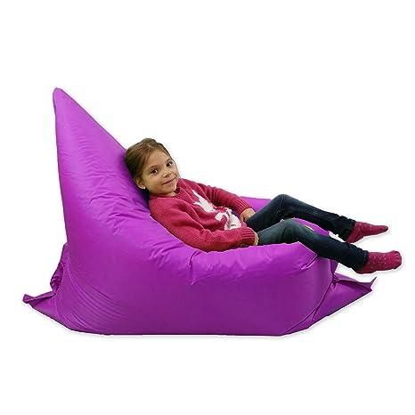 Puf grande para niños que adopta 6 formas. Ideal para jardines y exteriores, de color morado, 100 % resistente al agua
