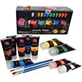 Acrylic Paints Set Studio Large 75m ml(2.64 oz) Paint Tubes Professional Grade Painting Kit For Canvas, Wood, Clay, Fabric, Nail Art, Ceramic BY Crafts 4 ALL