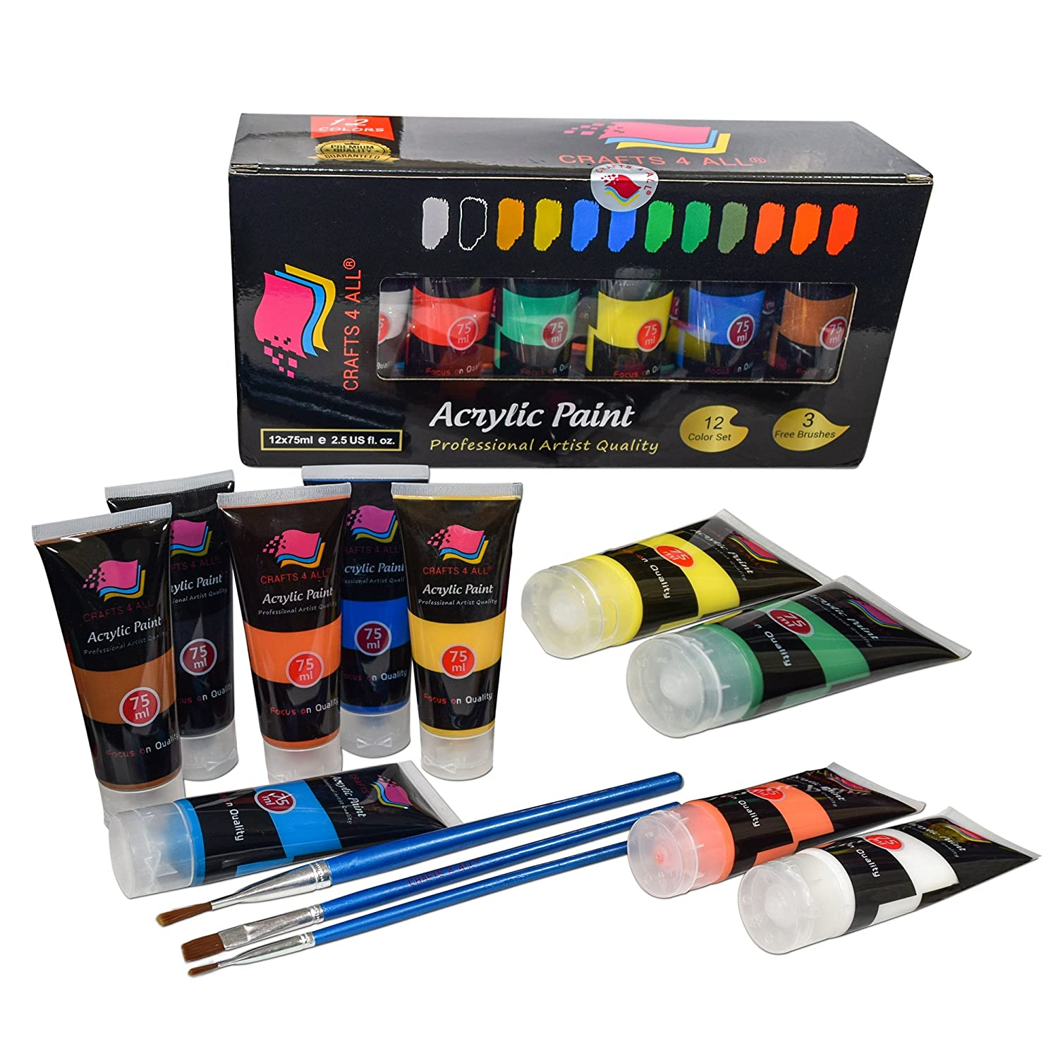 Acrylic Paint Set 12 Colours by Crafts 4 ALL Perfect For Canvas, Wood, Ceramic, Fabric. Non toxic & Vibrant Colors. Rich Pigments Lasting Quality For Beginners, Students & Professional Artist 4336956000
