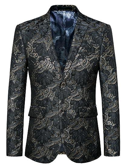 503c632d65a09 MOGU Mens Blazer Floral Printed Slim Fit Black Gold Jacket Suit US Size 30  (Asian