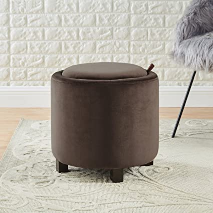 Awesome Wemart Upholstered Velvet Round Storage Ottoman With Solid Wood Leg Comfortable Pouf Ottoman For Footrest Brown Camellatalisay Diy Chair Ideas Camellatalisaycom