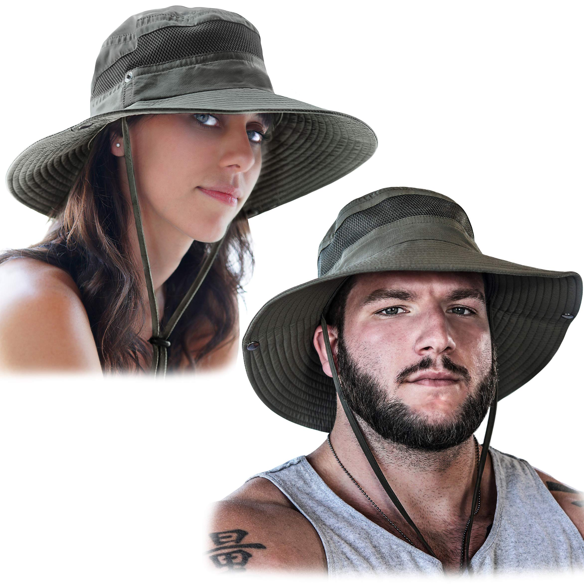 GearTOP Fishing Hat and Safari Cap with Sun Protection | Premium Hats for Men and Women (Army Green - 2 Pack) by GearTOP