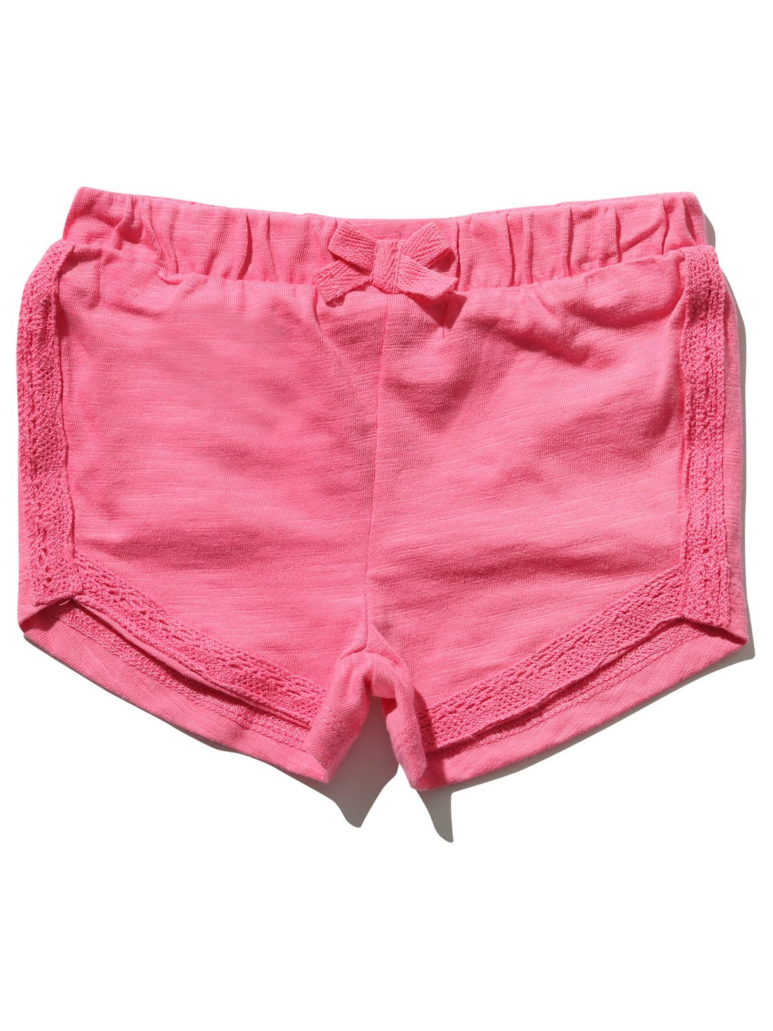 M&Co Baby Girl 100% Cotton Plain Pink Lace Trim Elasticated Waistband Back Pocket Detail Shorts