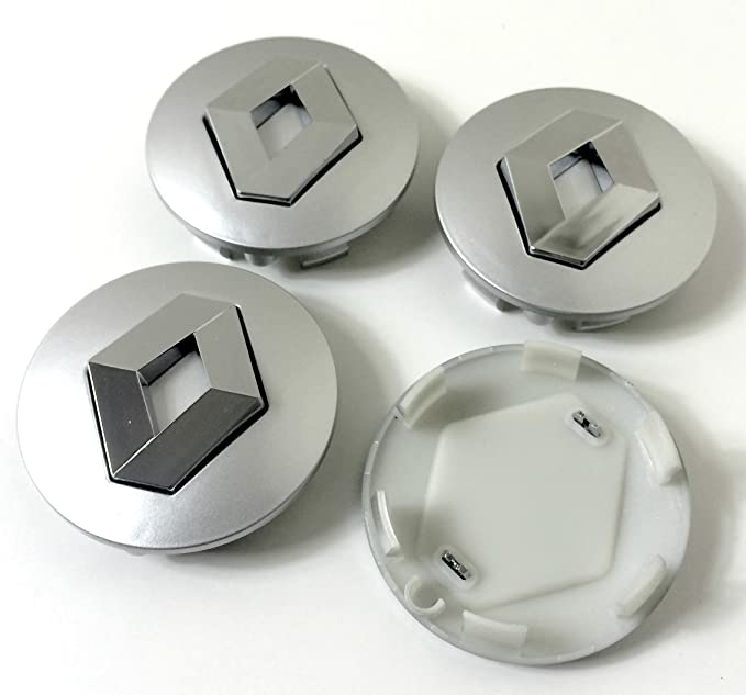 Set de 4 centros de tapacubos de Renault, llantas de aleación, 57 mm, gris cromo, cubierta con insignia: Amazon.es: Coche y moto