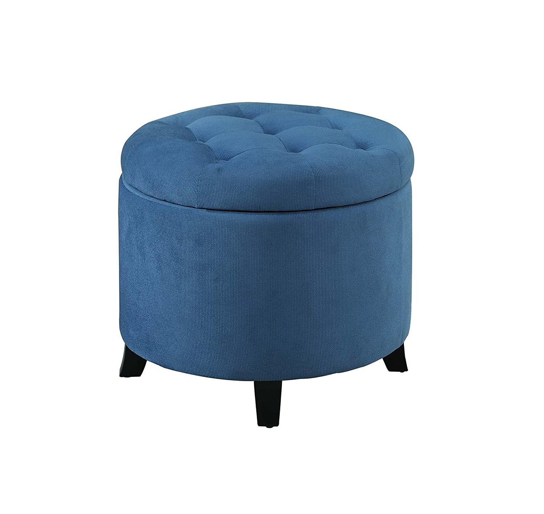 Convenience Concepts Designs4Comfort Round Ottoman, Blue