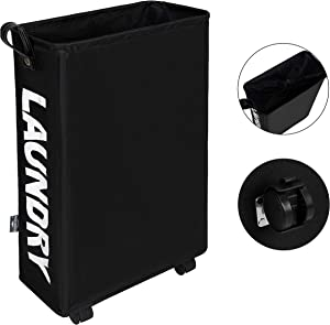 DOKEHOM Slim Laundry Basket with Leather Handle on Wheels (4 Colors), Foldable Corner Storage Bins, Collapsible Rolling Laundry Hamper (Black, M)