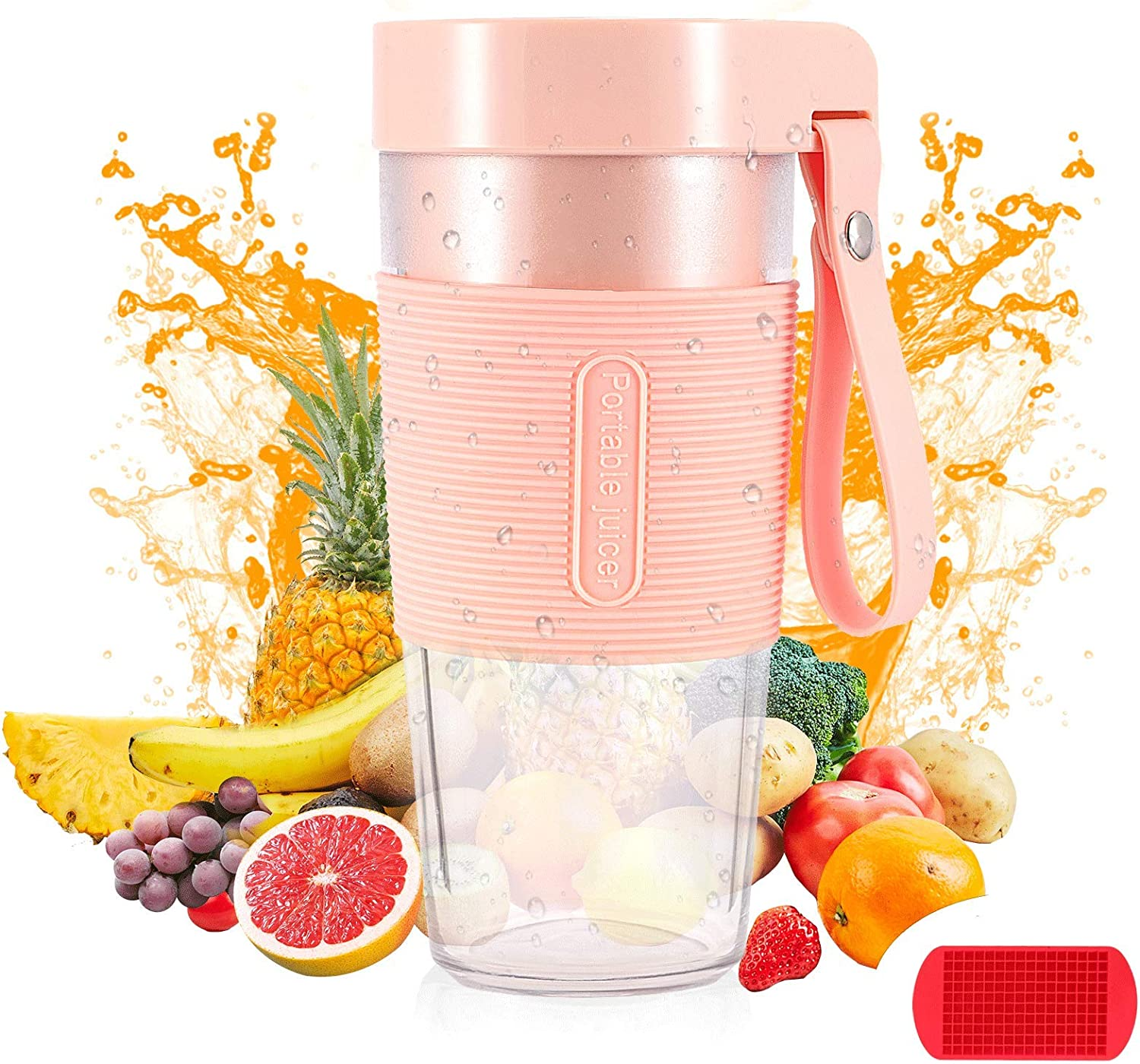 Portable Blender, Personal Blender for Smoothies and Shakes, 12OZ Mini Blender with Rechargeable USB, Baby Food Maker Made with BPA Free Material, MIYAJOY Juicer Cup Smoothies Cup Small Blender for Kitchen, Office, Sports, Travel, Outdoors. With Ice Cube Tray Free Gift.