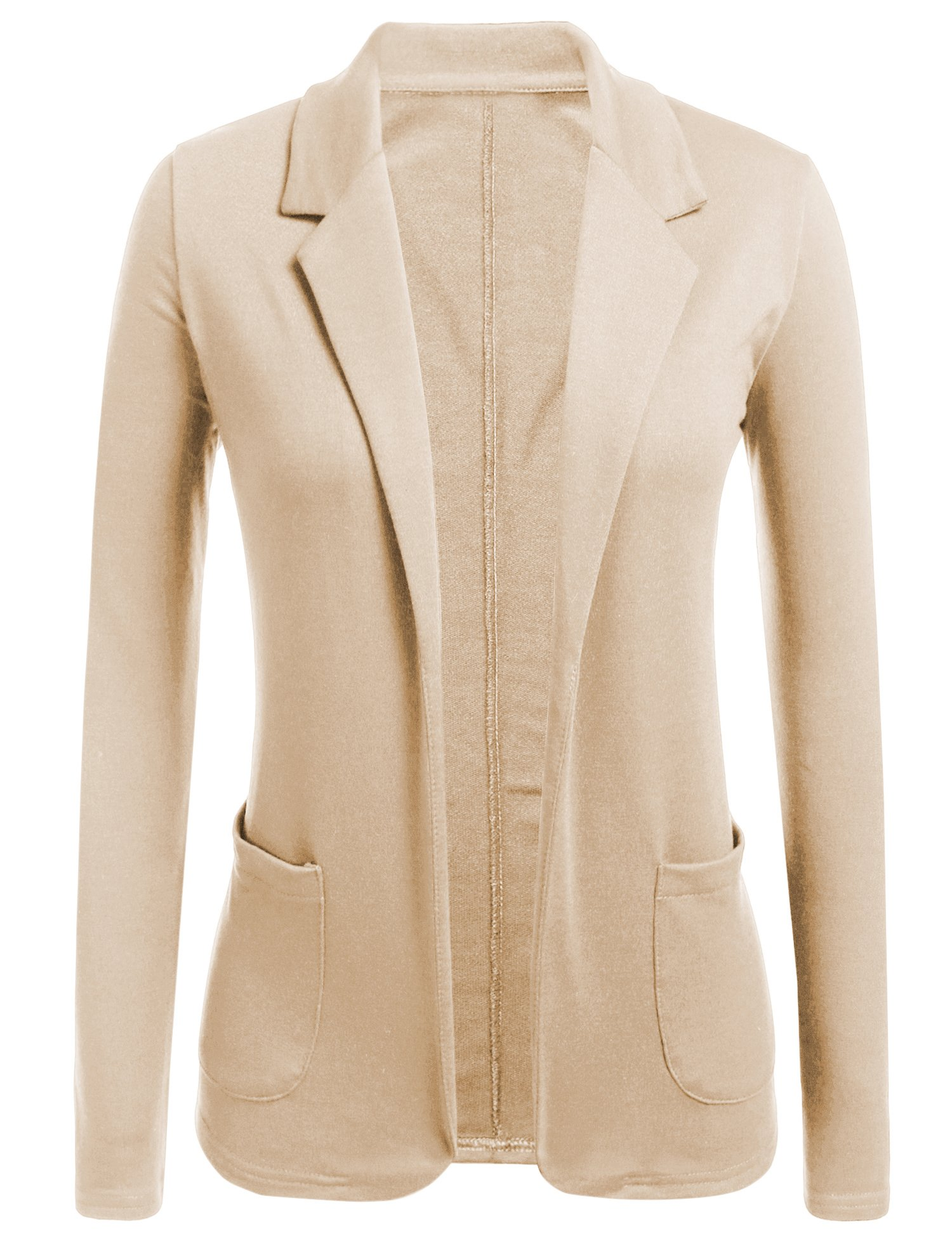 Concep Womens Open Front Blazer Long Sleeve Slim Fit Work Office Cardigan Jacket (Khika, M)