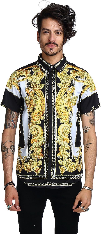 PIZOFF - Camisa de manga corta para hombre, color dorado Y1782-03 XXL: Amazon.es: Ropa y accesorios