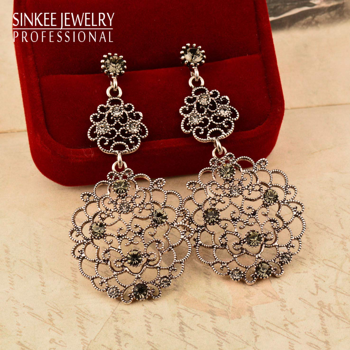 JENNIE SHOP Luxury Vintage Gray Cubic Zircon Big Earrings Women Antique Silver Plated ES701