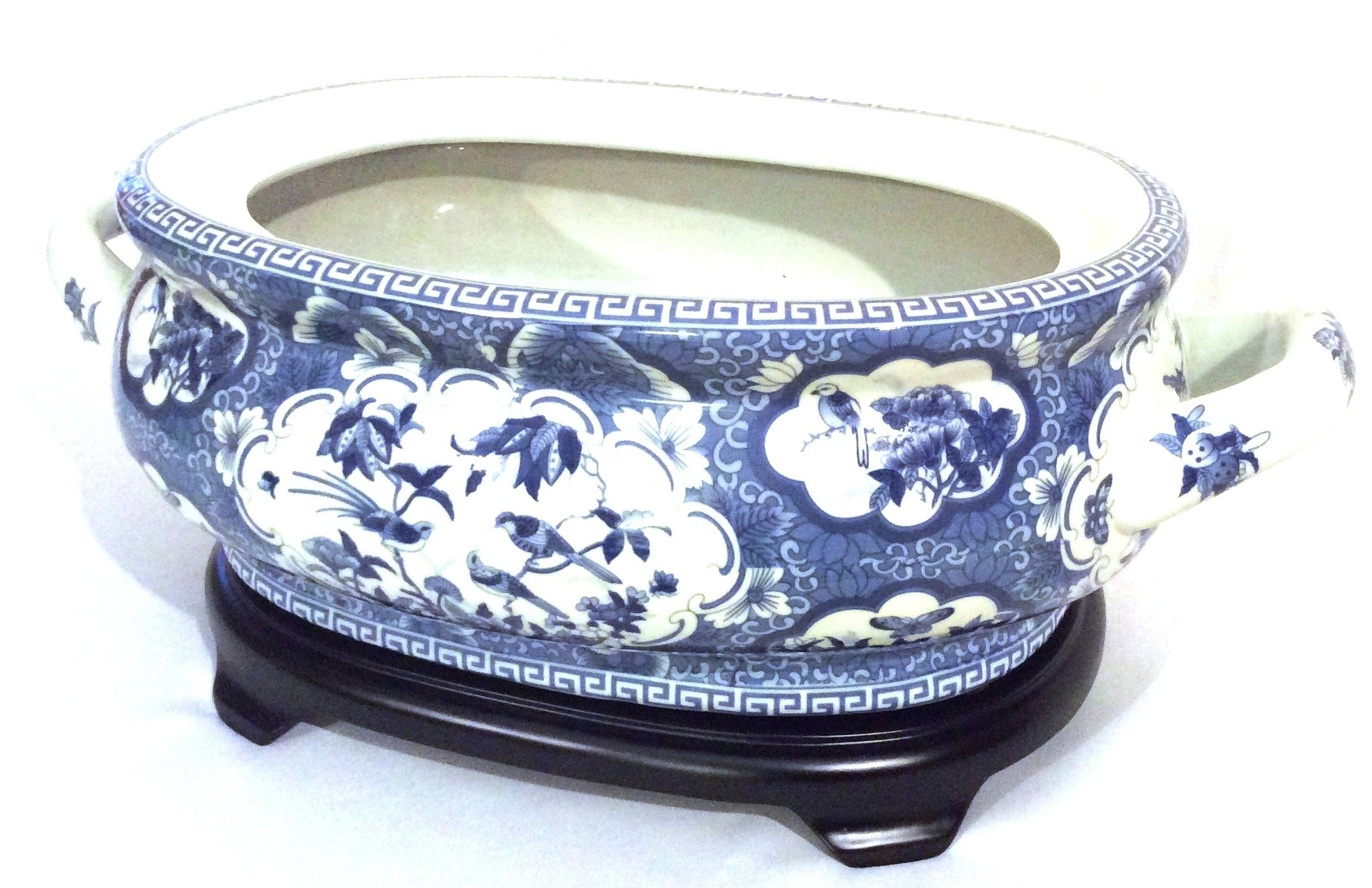 Blue and White Bird and Flower Porcelain Footbath with Base by Asian Caravan