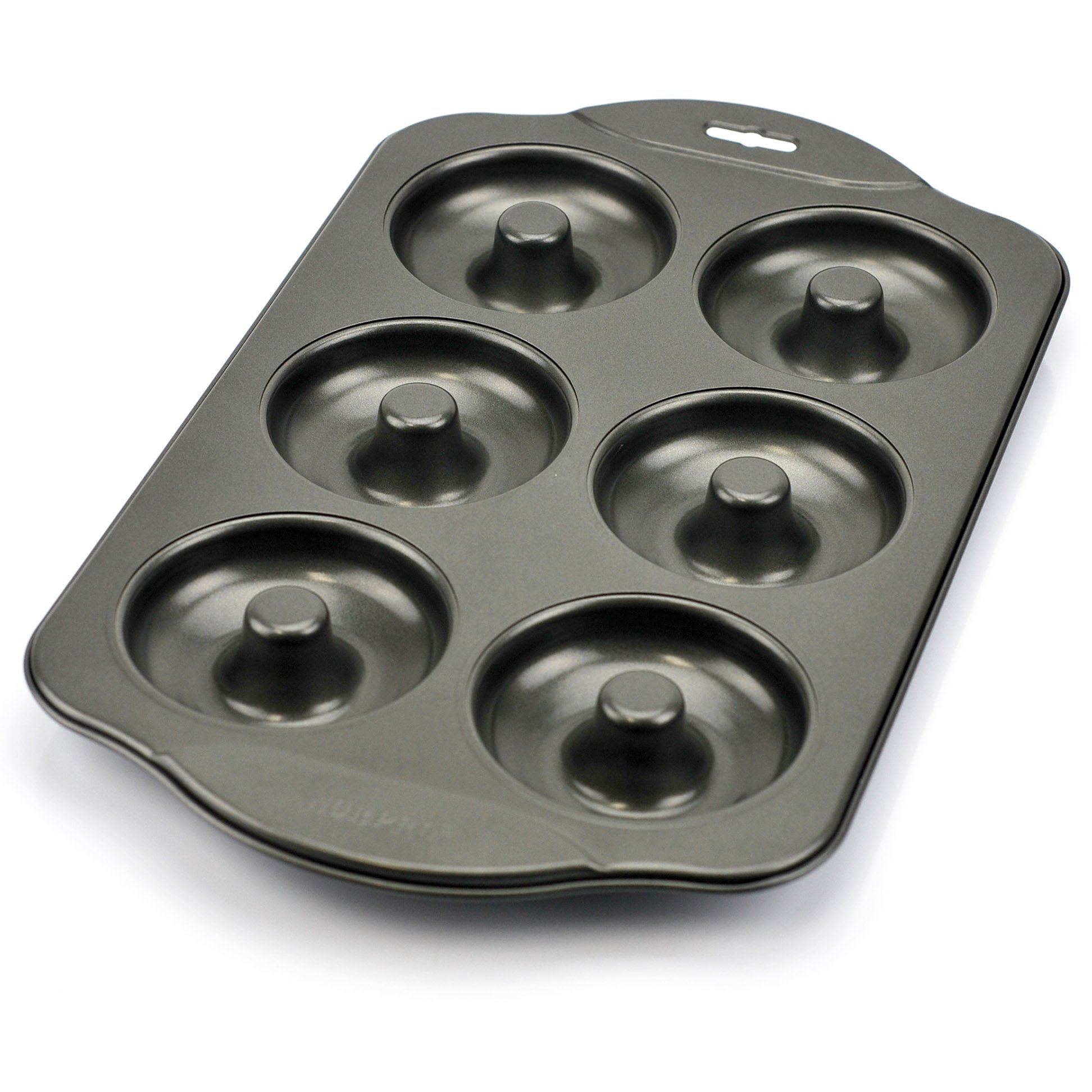 Donut Pan, Nonstick Mini Cast Iron Donut Pan Stainless Steel with 6 Count - Silver Gray