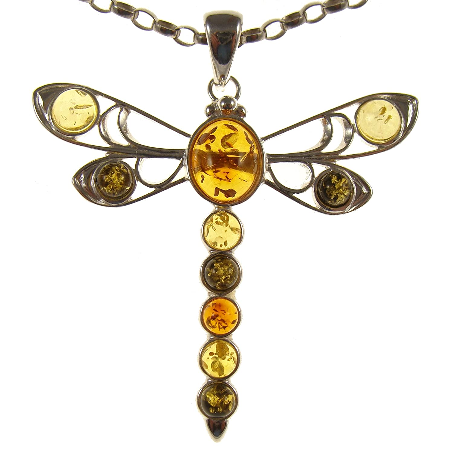 BALTIC AMBER AND STERLING SILVER 925 DRAGONFLY PENDANT NECKLACE - 14 16 18 20 22 24 26 28 30 32 34