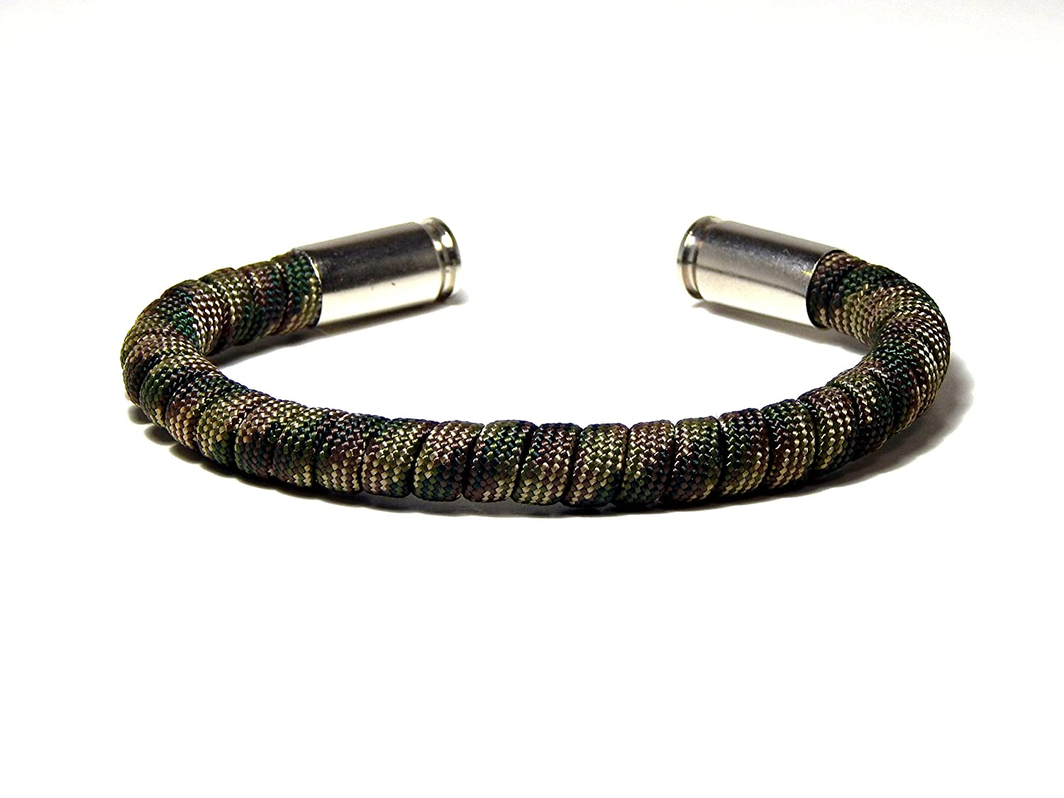 Blue Sky Outdoor Gear Bullet Bracelet Camo Paracord 9 mm Nickel Casing