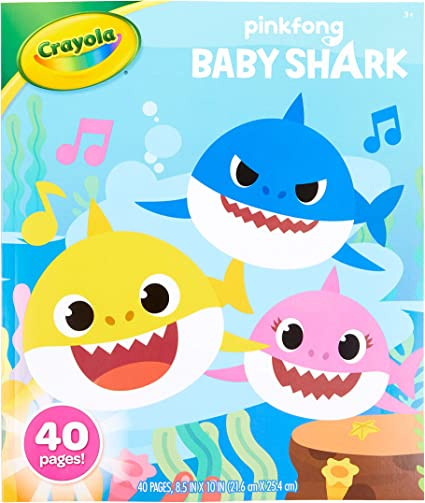 Amazon.com: Crayola Baby Shark Coloring Book, Baby Shark Coloring Pages, 40  Pages: Toys & Games