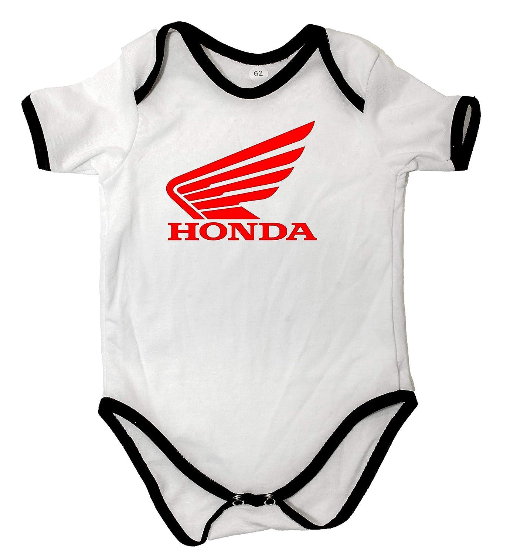 Body b/éb/é Unisexe Honda Moto Body Blanc /à Manches Courtes pour Gar/çon Filles